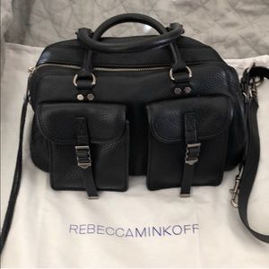 Rebecca Minkoff Black Military Pocket  Satchel
